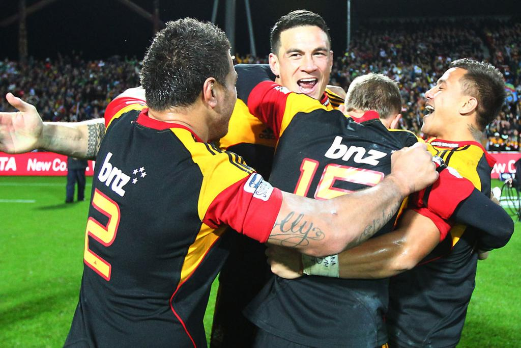 Chiefs players celebrate after beating the Sharks.