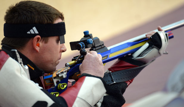 CONTROVERSY: Ryan Taylor of New Zealand competes in the Men's 50m Rifle Prone Shooting qualification.