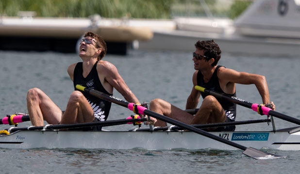 MEDAL ROW: An exhausted Peter Taylor (left) and Storm Uru after claiming New Zealand's fourth bronze medal in London.
