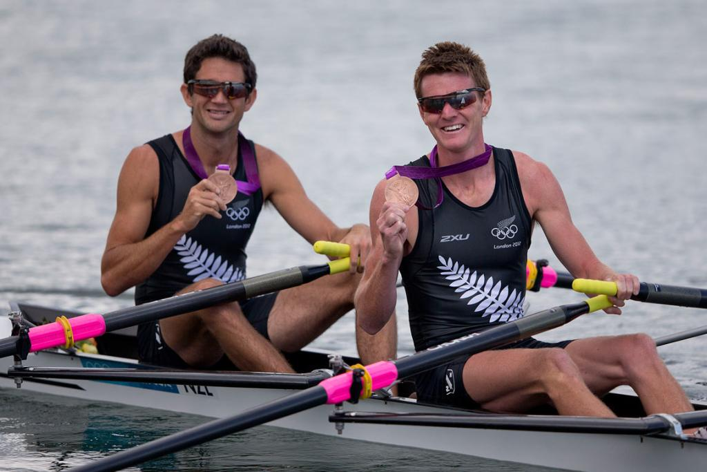 Peter Taylor (right) and Storm Uru claimed New Zealand's fifth rowing medal at Eton Dorney.