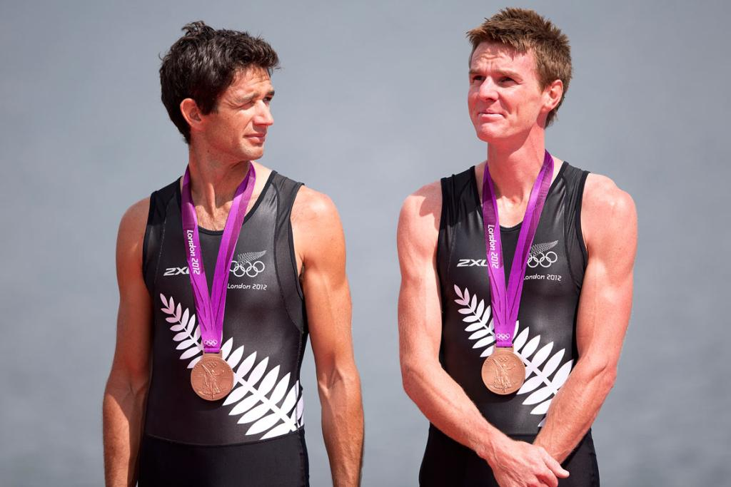 Storm Uru (left) and Peter Taylor after receiving their bronze medals in the lightweight double sculls.