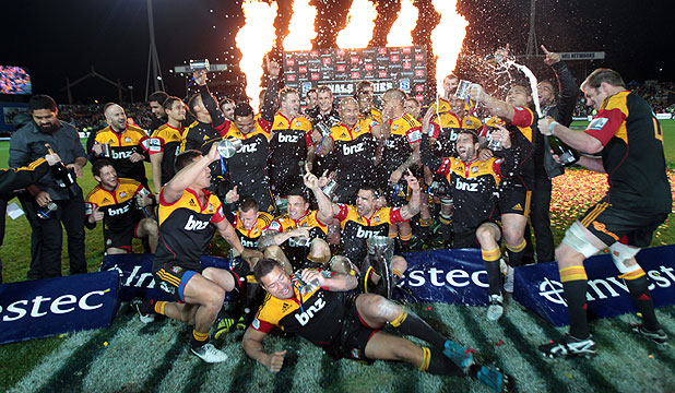 HEROES: Super Rugby champions, the Chiefs, after beating  the Sharks in front of a sellout crowd at Waikato Stadium.
