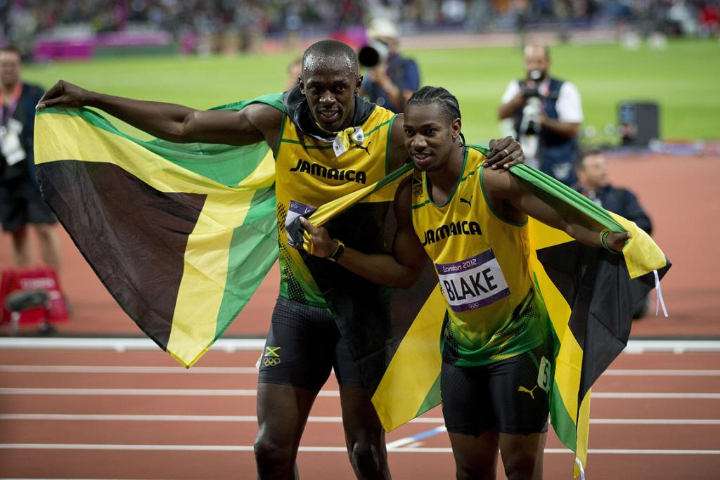 Usain Bolt and Johan Blake celebrate the Jamaican 1-2 in the 100m final.