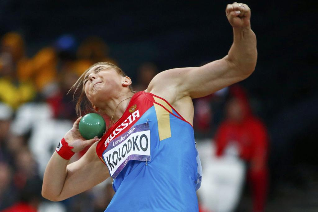 Russia's Evgeniia Kolodko competes in the women's shot put final at the London 2012 Olympic Games.