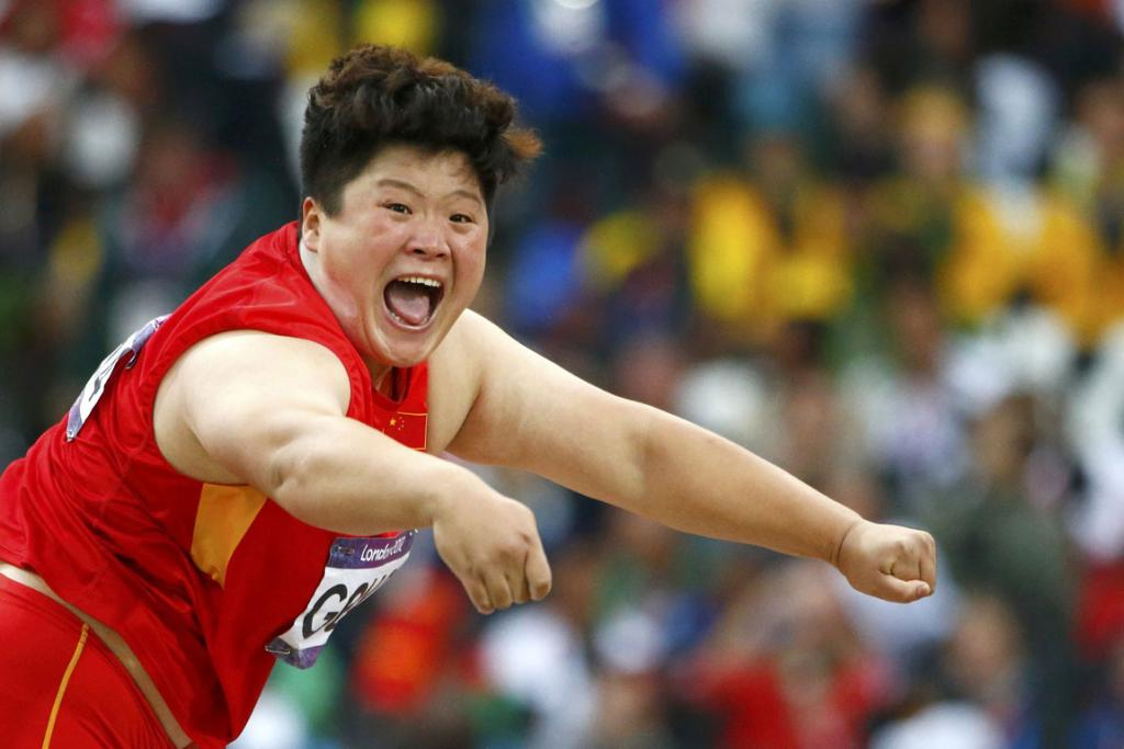 China's Gong Lijiao competes in the women's shot put final at the London 2012 Olympic Games.