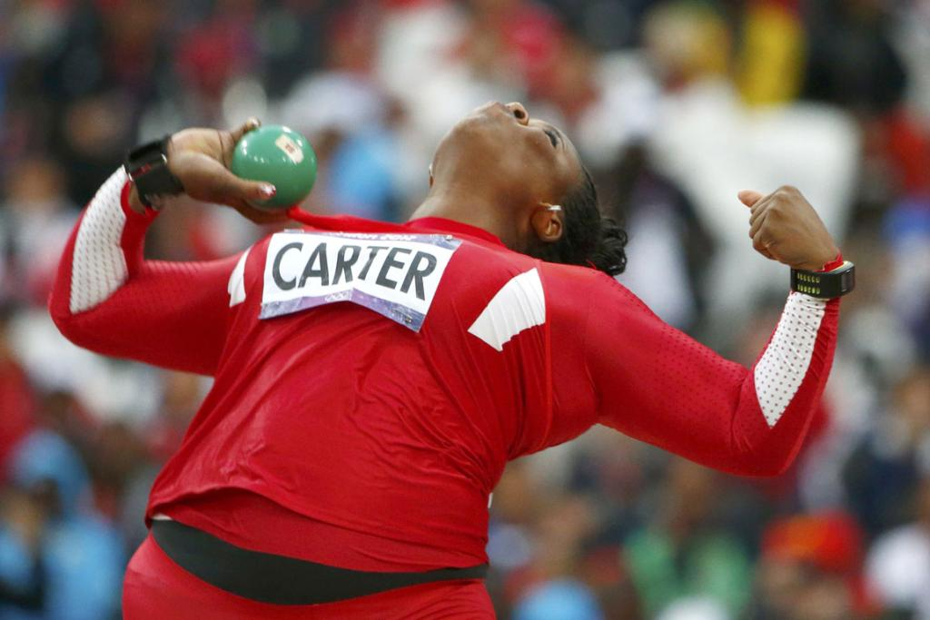 Michelle Carter of the US competes in the women's shot put final at the London 2012 Olympic Games.