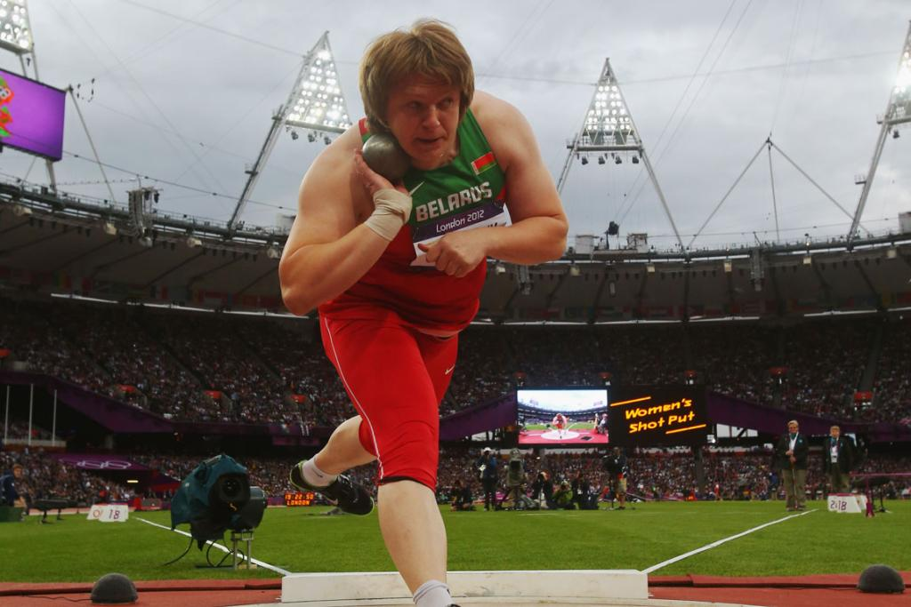 Belarus' Nadzeya Ostapchuk on her way to winning gold in the women's shot put final at the London 2012 Olympic Games.