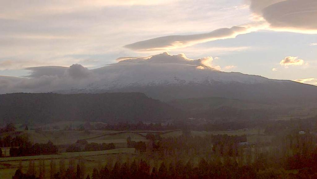 The Mt Ruapehu webcam, about 7.30am today.