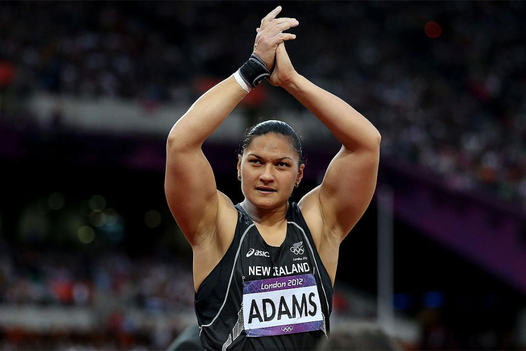 Valerie Adams celebrates her silver medal win in London.