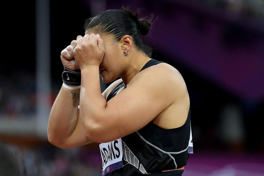 New Zealand Olympic gold medal shot put hopeful Valerie Adams reacts after missing out on gold in the final of the women's shot put during the 2012 London Olympic Games.