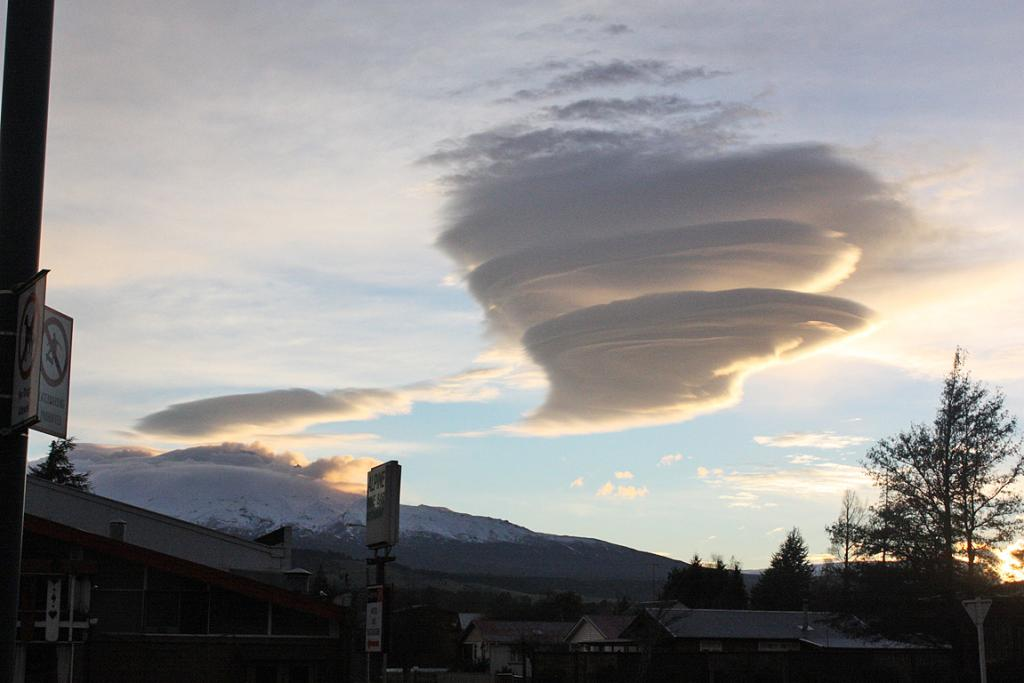 The sky over Ohakune hours after Tongariro's eruption.