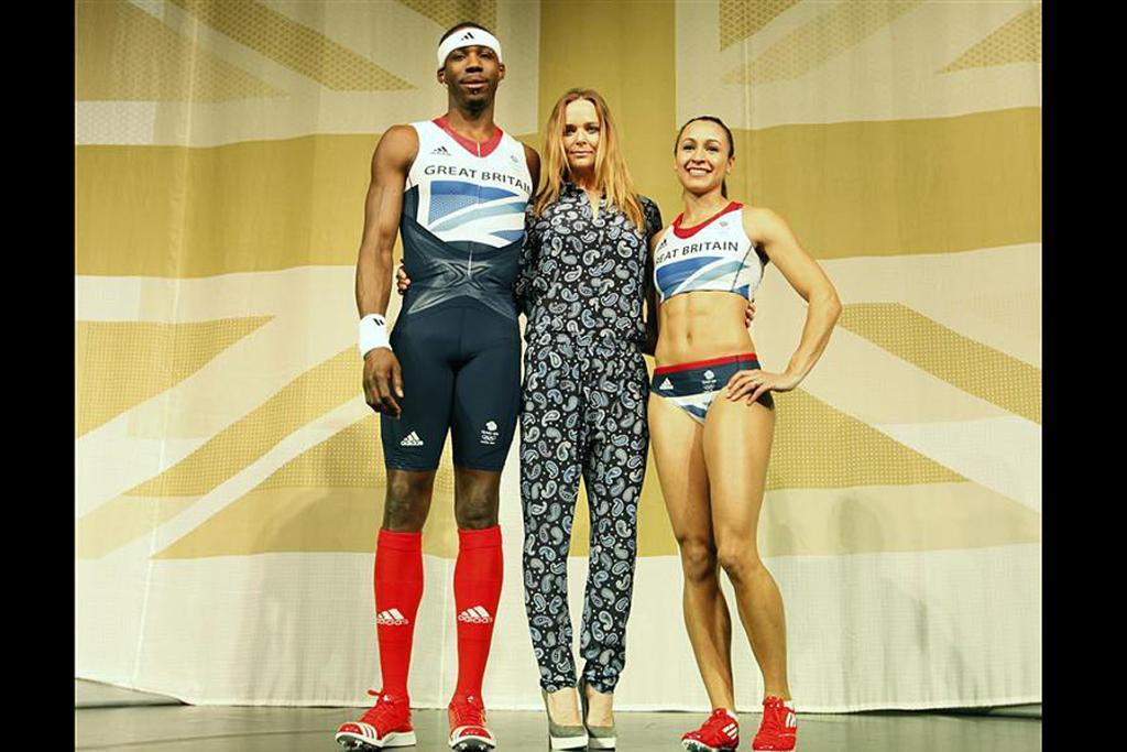 The Team GB kits were designed by Stella McCartney, seen here with UK triple jumper Phillips Idowu and heptathlete Jessica Ennis