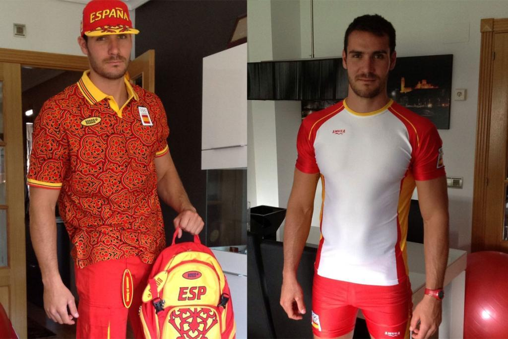 Sprint canoe gold medallist Saúl Craviotto looks less than impressed with the Spain's uniforms for the London Olympics.