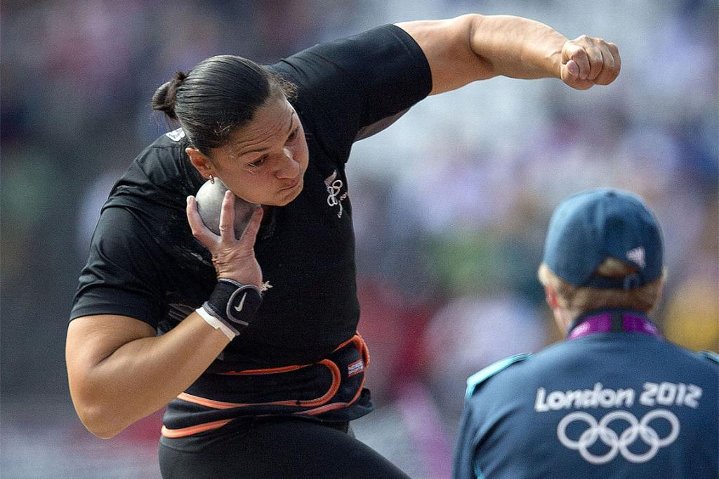 Valerie Adams competes in the qualifiers at the main Olympic stadium in London.