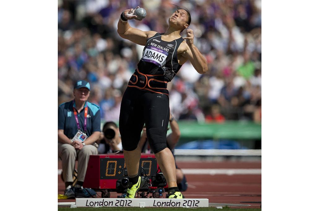 Valerie Adams throws a silver medal distance at the shot put final in London.