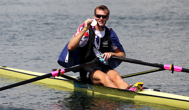 MEMORABLE MOMENT: Kiwi rowing legend Mahe Drysdale with his Olympic gold medal.