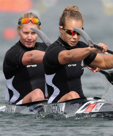 DYNAMIC DUO: Lisa Carrington (right) and Erin Taylor in action in the K2 500 at the London Olympics.