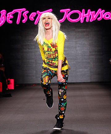 DESIGN DIVA: Betsey Johnson walks on the runway after her Fall/Winter 2011 collection show during New York Fashion Week.
