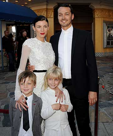 HAPPIER TIMES: Director Rupert Sanders, his wife Liberty Ross and their children Tennyson and Skyla at the premier of Snow White and the Huntsman.