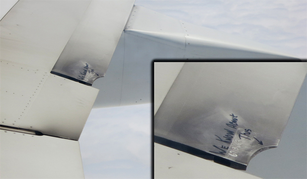 GOOD INTENTIONS ... BUT: Alaska Airlines says a mechanic's handwritten note on a plane's wing was not a good idea.