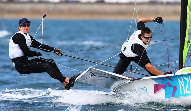 OLYMPIC ACTION: 49er sailors Peter Burling, left and Blair Tuke at the 2012 Olympics.