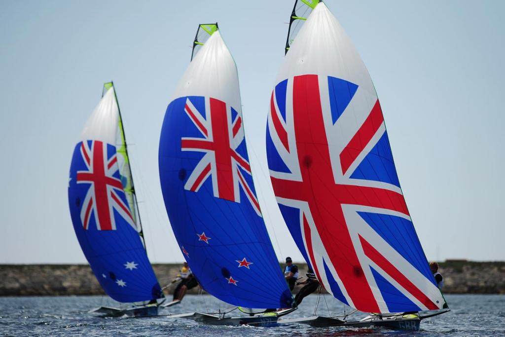 A Commonweath show as Australia's Nathan Outteridge and Iain Jensen, New Zealand's Peter Burling and Blair Tuke and Great Britain's Stevie Morrison and Ben Rhodes compete in the men's 49er sailing at the London 2012 Olympic Games.