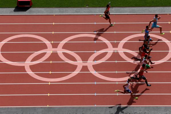 New Zealand's Brent Newdick (fourth from top) competes in the men's decathlon 100 metres at the London 2012 Olympic Games.