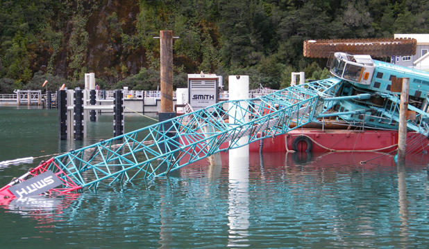 Crane falls at harbour