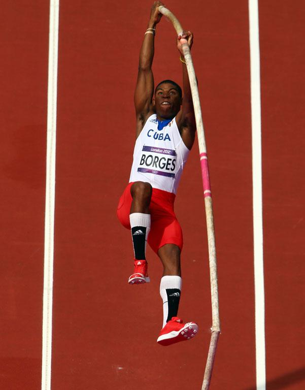 The pole of Cuba's Lazaro Borges snaps during the men's pole vault qualifications at the London 2012 Olympic Games.