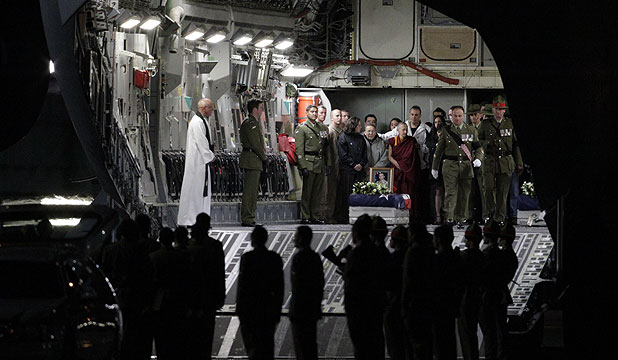 COMING HOME: The bodies of the two soldiers killed in Afghanistan were brought home on a United States Air Force C17 which landed at Christchurch Airport.