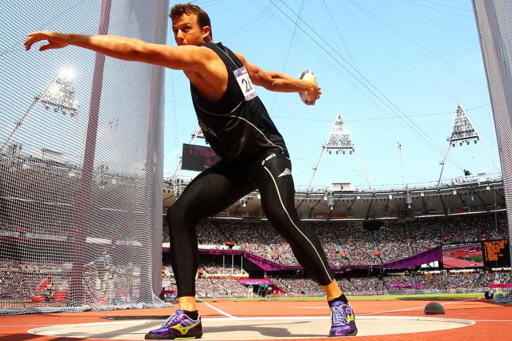 New Zealand's Brent Newdick competes in the discus event of the decathlon at the London Olympics.
