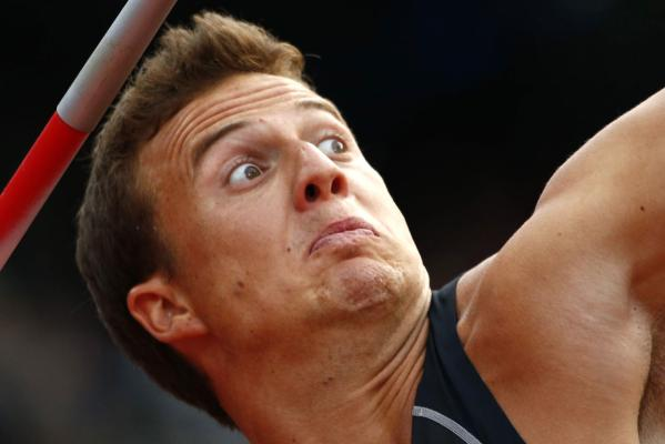 New Zealand's Brent Newdick competes in the javelin event of the decathlon at the London Olympics.