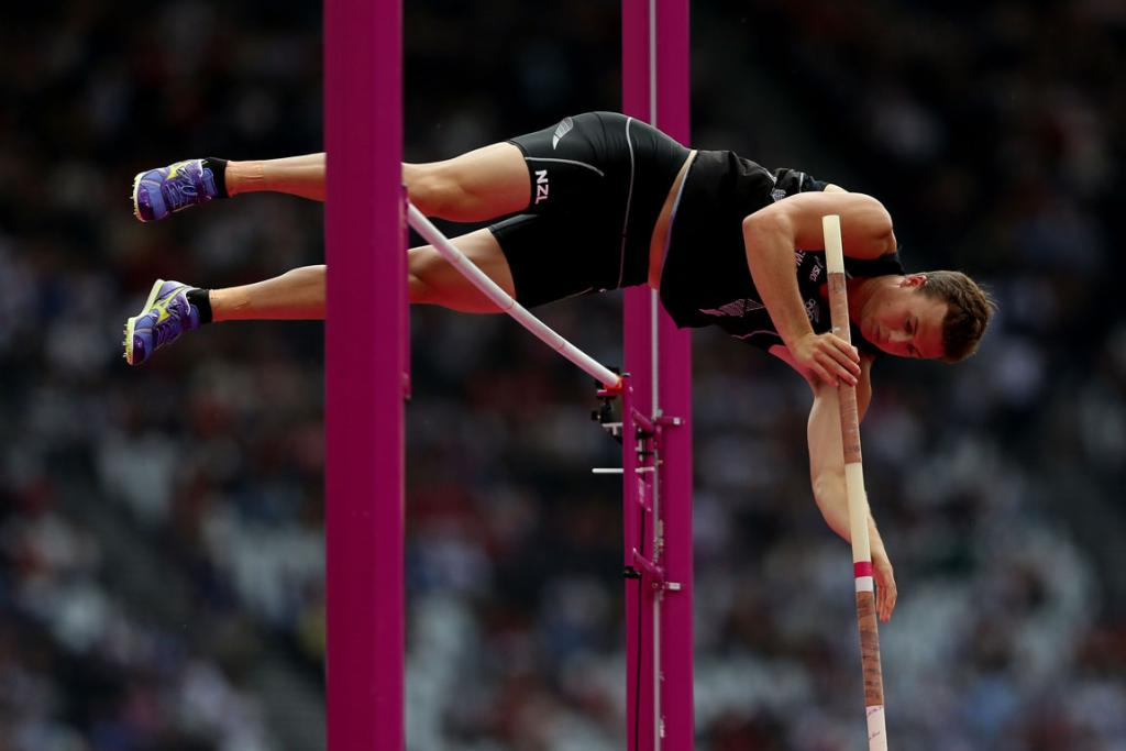 New Zealand's Brent Newdick competes in the pole vault event of the decathlon at the London Olympics.