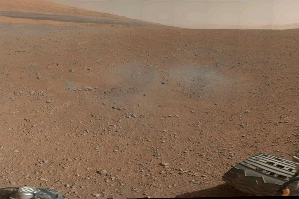 A portion of the first colour 360-degree panorama from NASA's Curiosity rover on Mars.