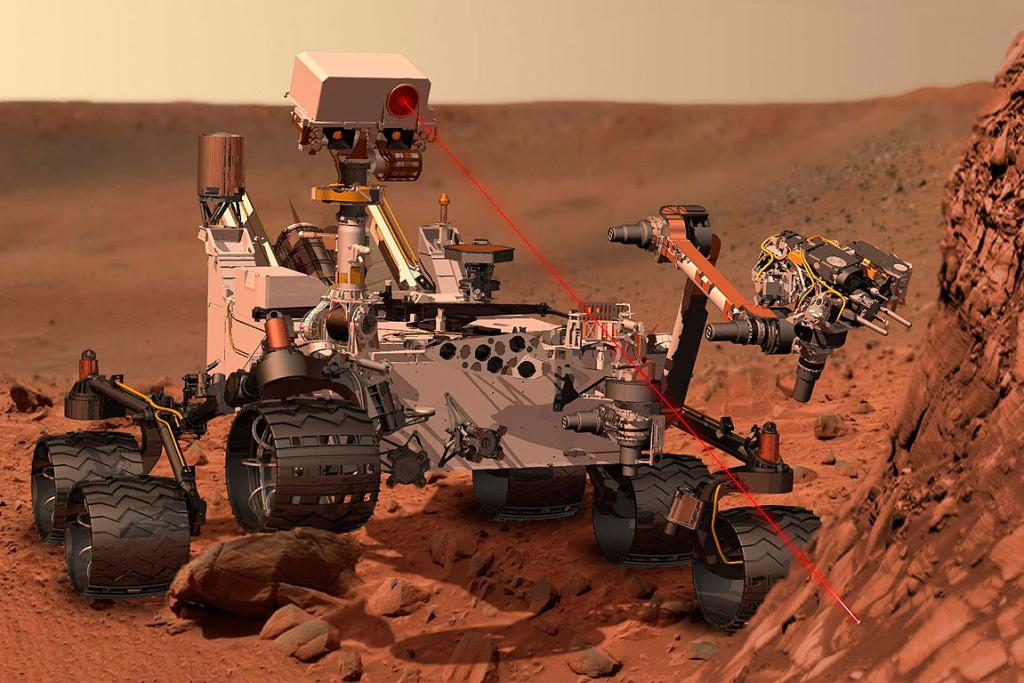 This artist's concept of Curiosity using its Chemistry and Camera instrument to investigate the composition of a rock surface.