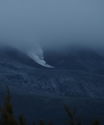 SURPRISE ACTIVITY: Volcanic plumes rise from vents on Mt Tongariro.