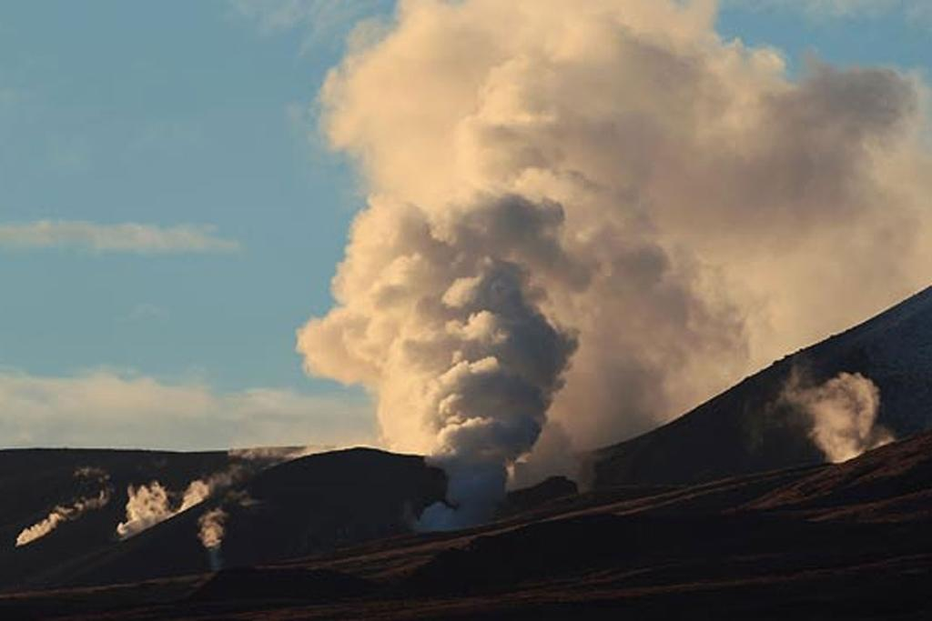 Tongariro steams following Tuesday's eruption.