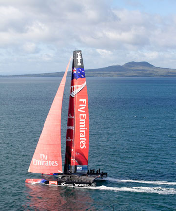 Emirates Team New Zealand get ideal conditions on Auckland's Waitemata Harbour on their third day of training.