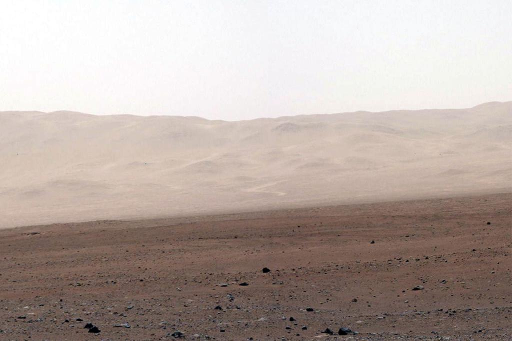 This colour image from NASA's Curiosity rover shows part of the wall of Gale Crater, the location on Mars where the rover landed.