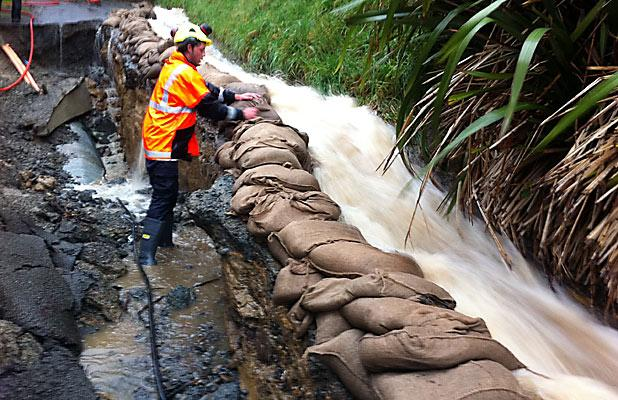 EMERGENCY MEASURES: Sandbags are stacked to protect Lyttelton's Canterbury St.