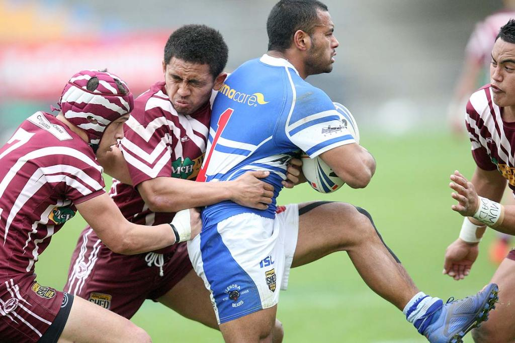 Glenora fullback Tee Mahe is tackled by Papakua halfback Henry Dunn, Papakua second rower Samiu Ikahihifo & Papakua centre Sonny Bristow in the Glenora Bears & Papakura Sea Eagles Fox Memorial Preliminary Final club rugby league match at Mount Smart Stadium on Saturday afternoon.