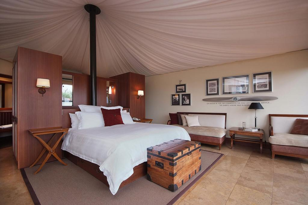 A luxury tent bedroom in Longitude 131
