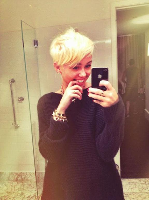 Miley Cyrus checks herself out