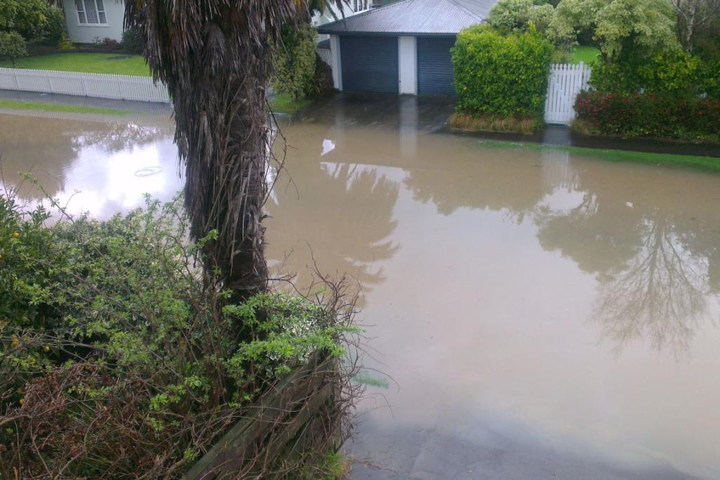 Surface flooding in Palmerston North.