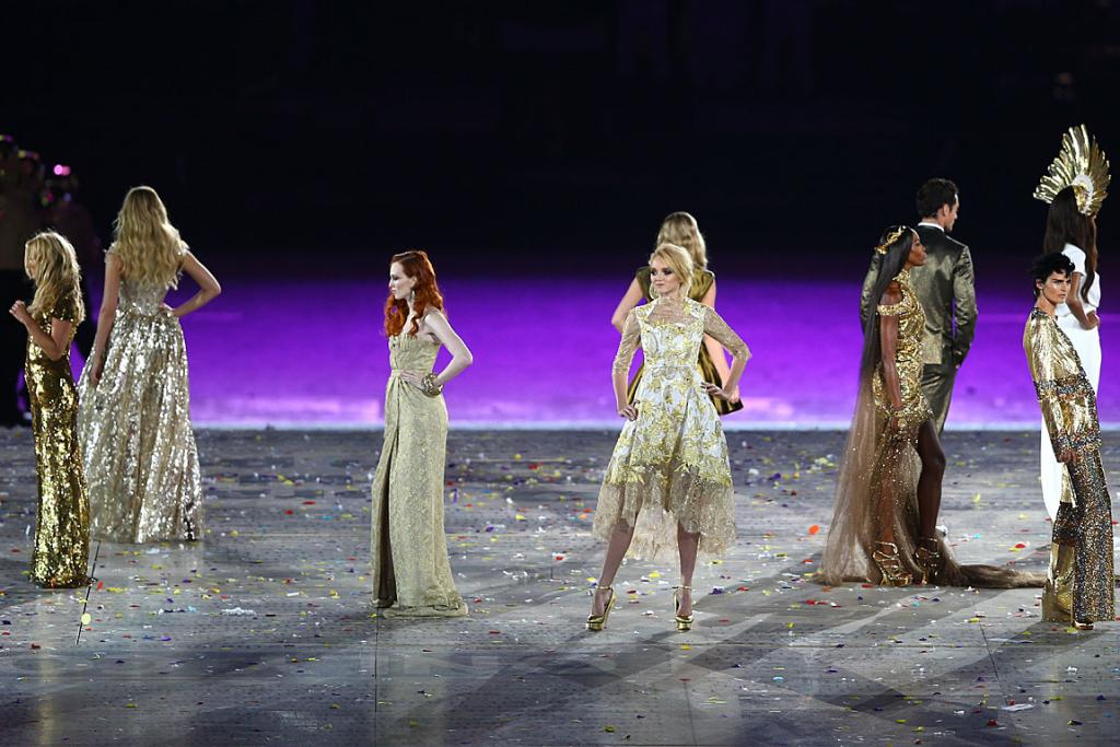 Britain's finest models strut their stuff at the 2012 Olympics closing ceremony.