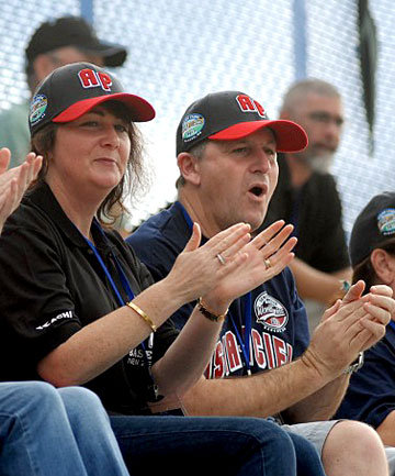 Bronagh and John Key on the first day of the Senior Little League World Series