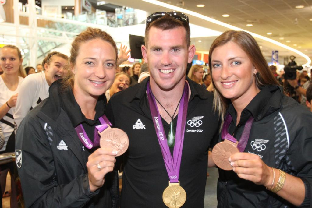 Rebecca Scown, Joseph Sullivan and Juliette Haigh with their medals.