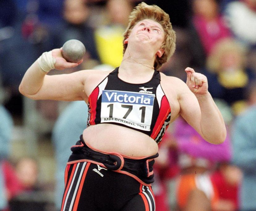 Nadzeya Ostapchuk competes at the 2001 IAAF Grand Prix Final held at Olympic Park, Melbourne, Australia.