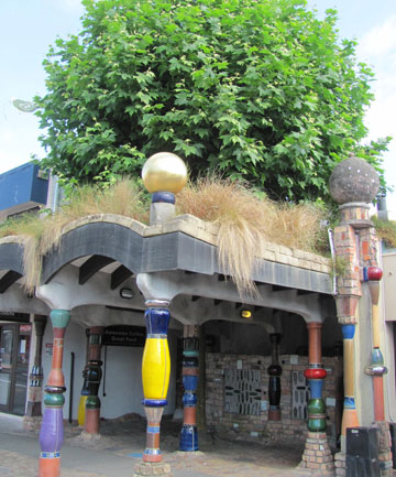 LUSH LOOS: Eltham's public toilets are set to get a creative makeover designed by Jackson Architects. Pictured is Kawakawa's pride - the Hundertwasser designed toilets.
