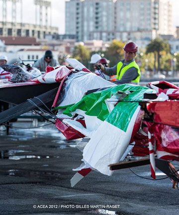Luna Rossa Challenge suffered severe damage to their wing during a capsize in the strong winds in San Francisco Bay.